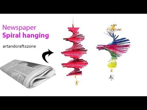 How to make Newspaper Spiral Hanging | Newspaper wind chime |NewsPaper Craft
