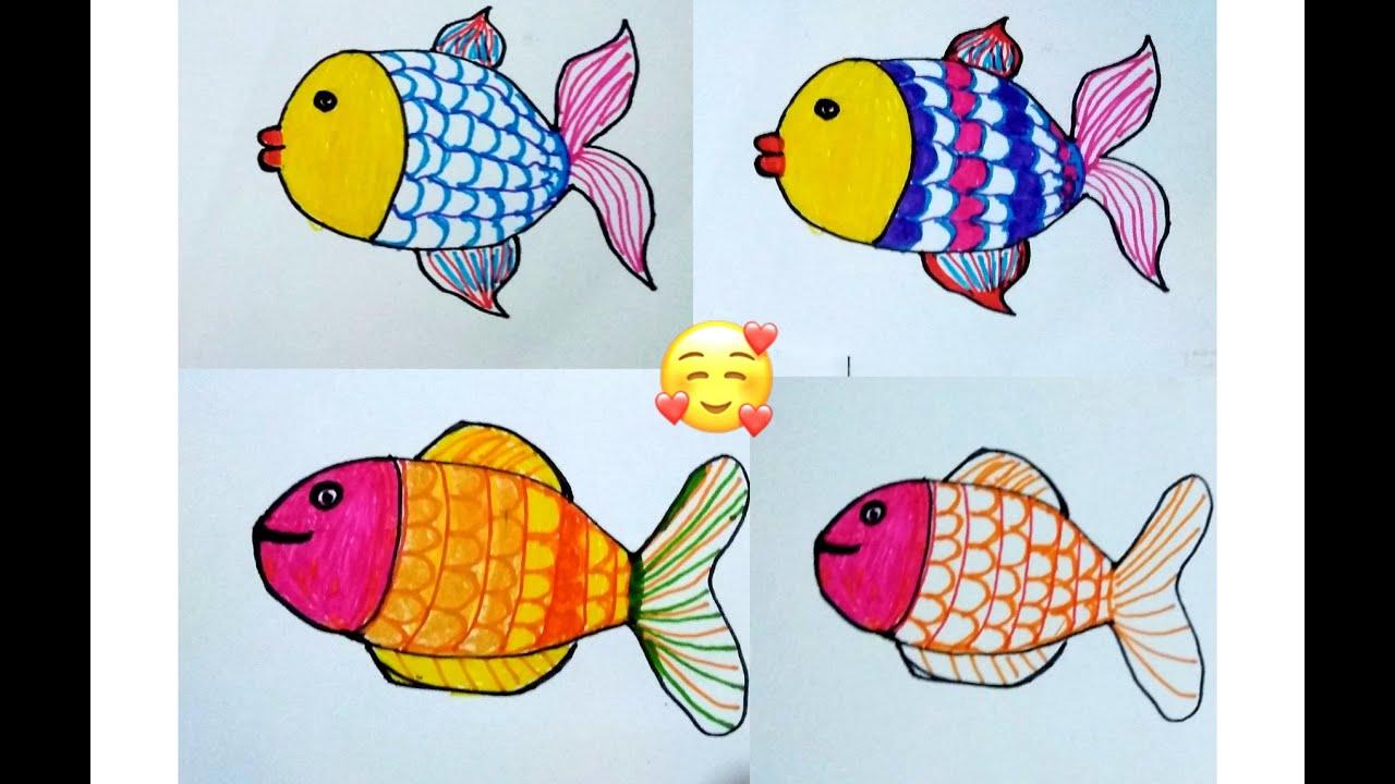 Cara Menggambar Ikan Gambar Dekoratif Motif Garis Youtube