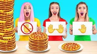 ASMR    NO HANDS VS ONE HAND VS TWO HANDS    Food Challenge With Real VOICES by 123 GO! FOOD