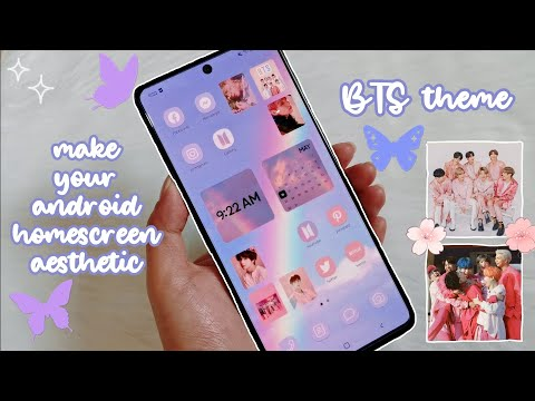 make your android homescreen aesthetic 2021 ЁЯТЦ BTS theme ЁЯТЬ