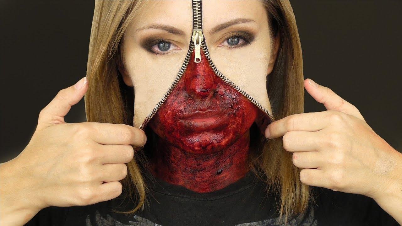Maquillage Halloween Zipper.Unzipped Zipper Face Makeup Tutorial Youtube