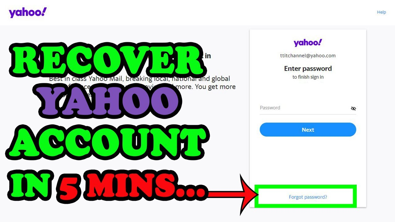 how to recover forgotten yahoo password