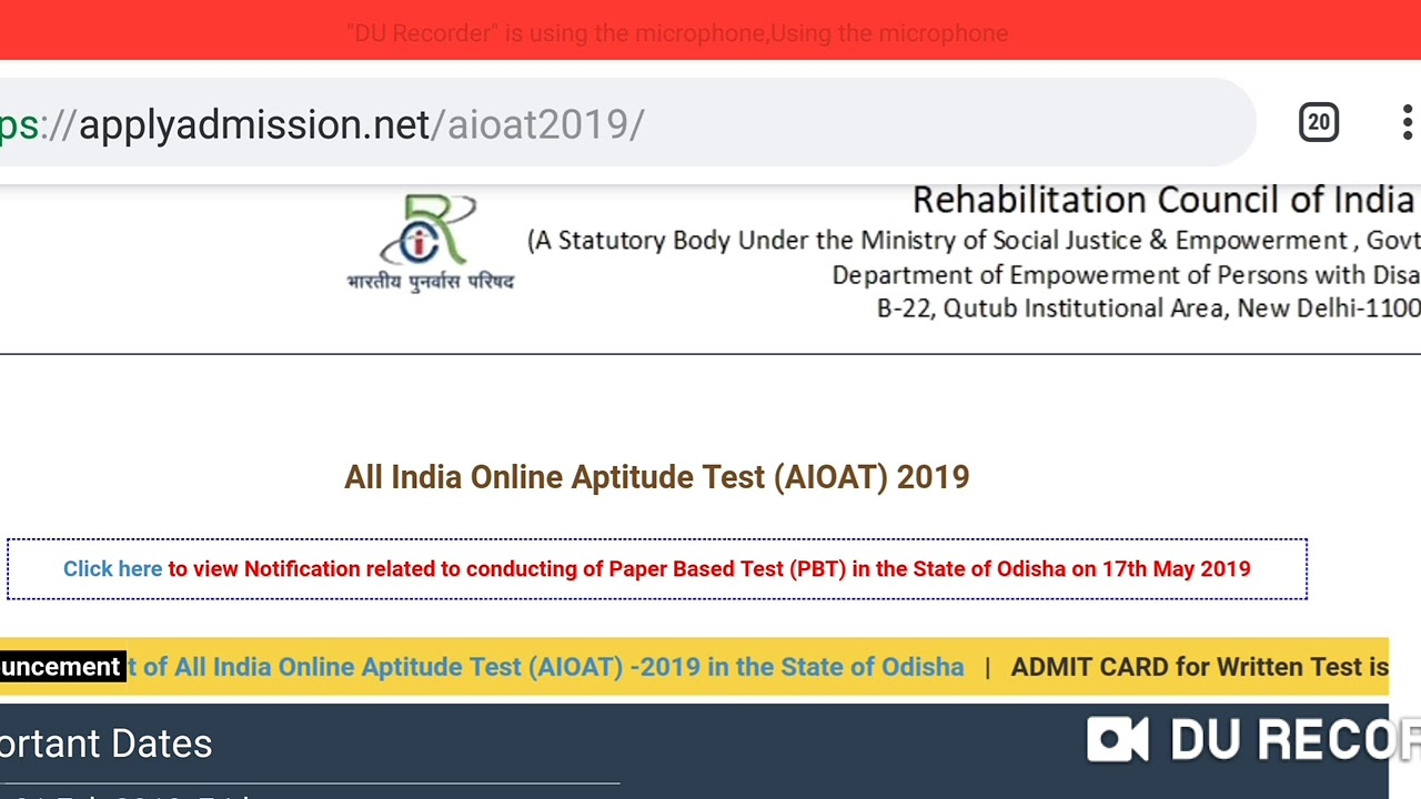 AIOAT Result Date Declared | 21st May 2019 | Admission Process |  Educational Hub