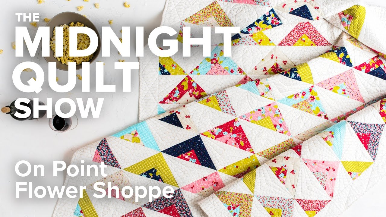 Scrappy On Point Triangle Quilt An Fmq Love Story Midnight Quilt