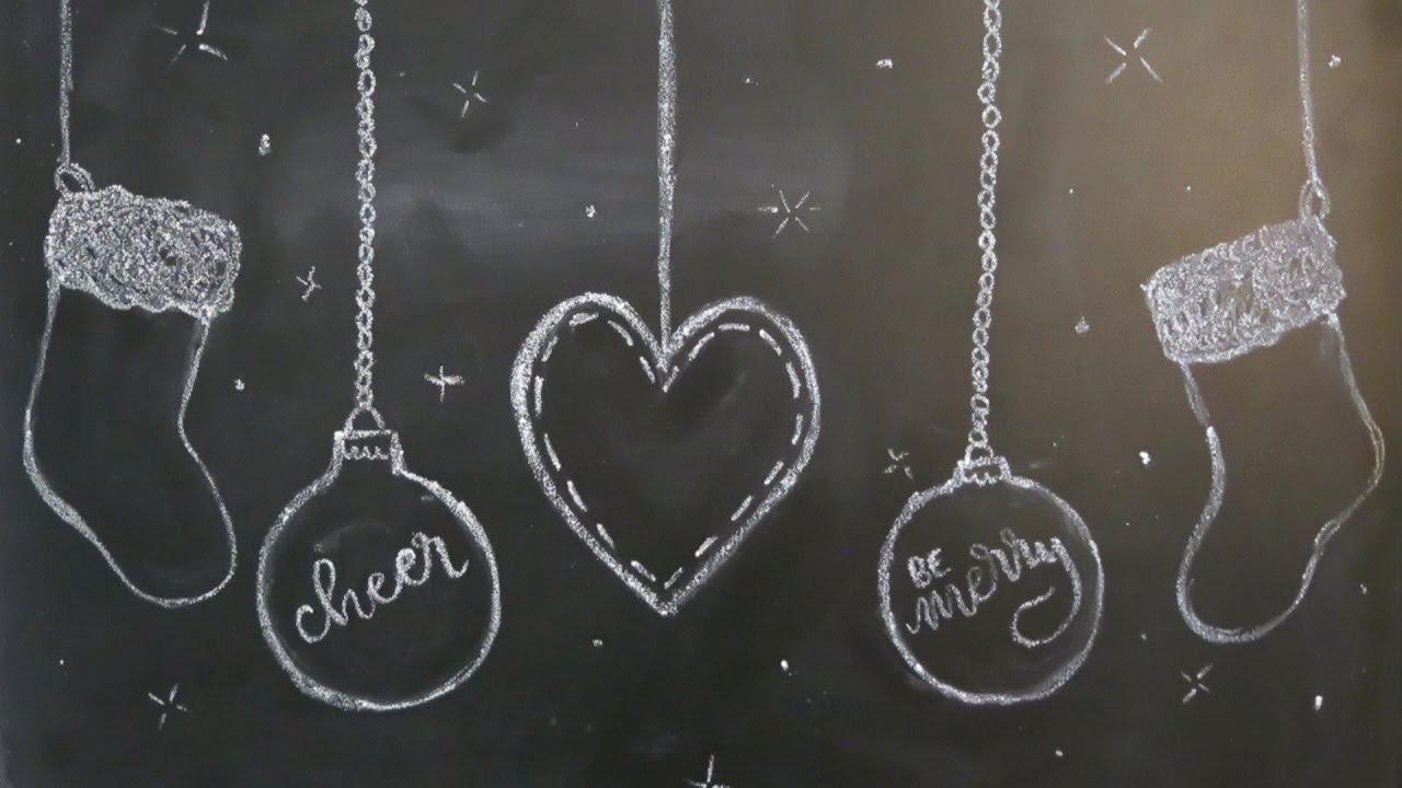 Christmas chalkboard art part hanging ornaments