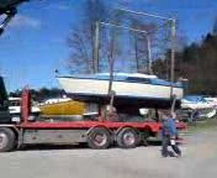 My sail boat on the truck / crane