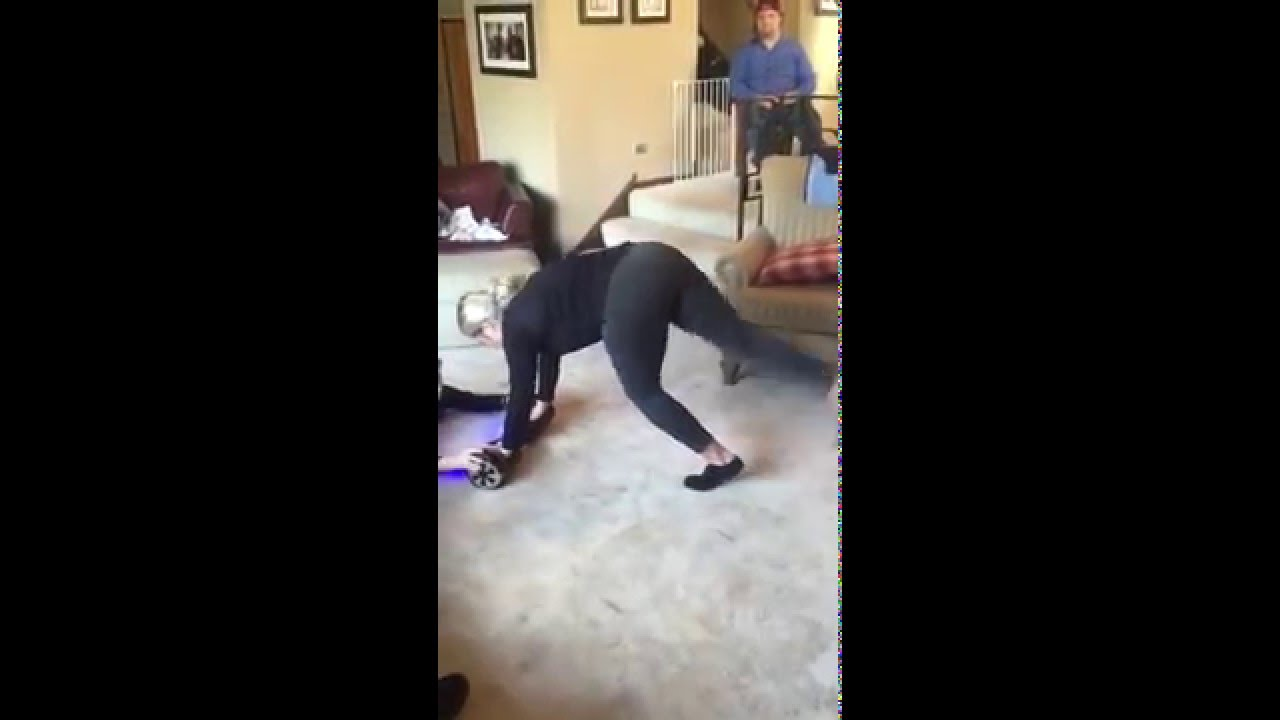 Doing Handstand on Hoverboard, falls into 'Christmas Tree' - YouTube