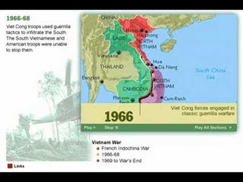 History of the Vietnam War 1947 - 1975 Map - YouTube