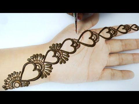 आसान हार्ट शेप की मेहँदी लगाना सीखे -  easy heart shape mehndi designs on hands step by step