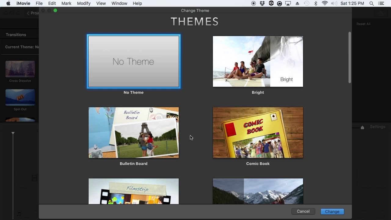 IMOVIE 10 1 4 SLECTING A NEWSCAST THEME