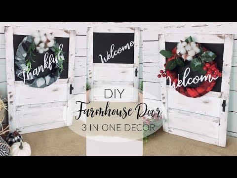 DIY DOLLAR TREE FARMHOUSE DOOR   DIY FALL & CHRISTMAS WREATHS