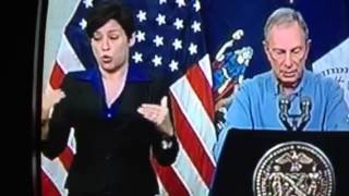 NYC's Newest Celebrity- Sign Language Interpreter puts on show- Hurricane Sandy press conference