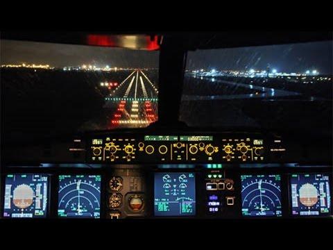A320 Cockpit Night Landing LCLK-Cyprus Airways-Pilot's View -CYP7607 from Skiathos-2nd St Maarten