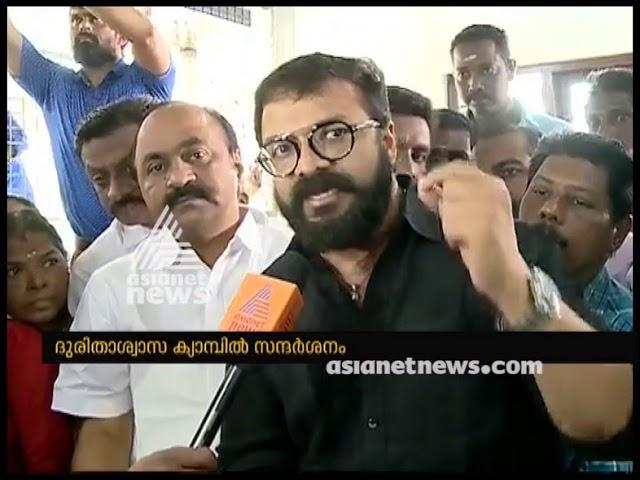 Actor Jayasurya  flood relief camp in Ernakulam
