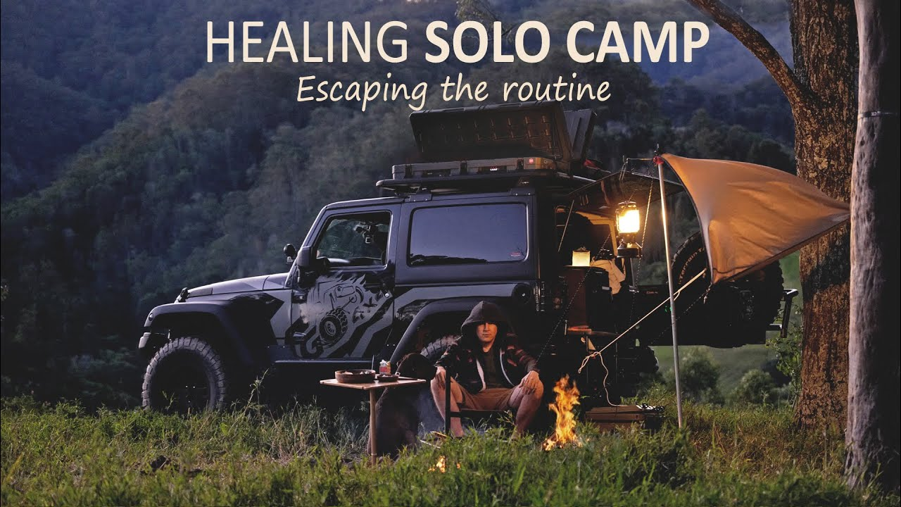 Solo CAR CAMPING relaxing with Serene Views [ Jeep Wrangler overland,  Campfire cooking ] SoC Ep15