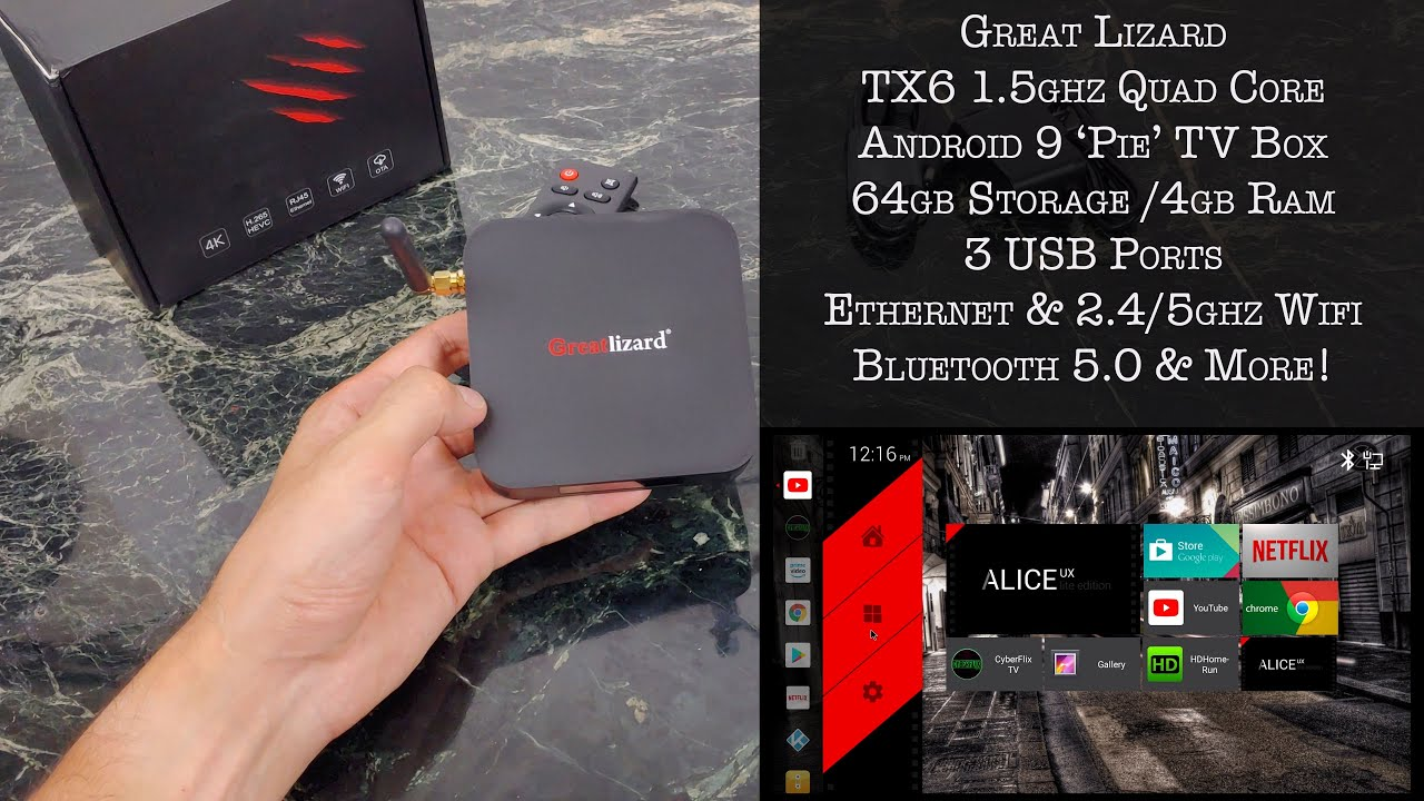 $60 Android 9 TV Box Review by Great Lizard Allwinner Processor 64GB Storage