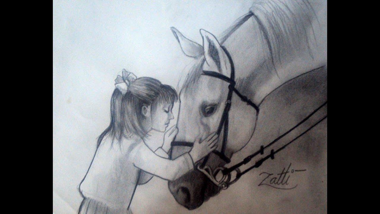 Desenhando Uma Menina E Um Cavalo Youtube