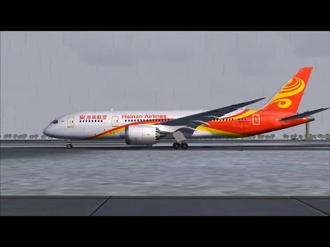 Hainan Airlines Boeing 787 Dreamliner Rainy Departure From Beijing - Flight 7975 to Toronto