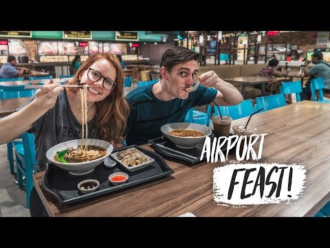 The Best Airport Food EVER!  Delicious Noodles at Singapore Airport (Bali to Athens, Greece)