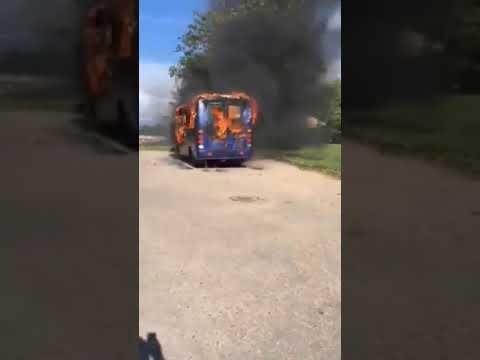 В  Гродно сгорел автобус
