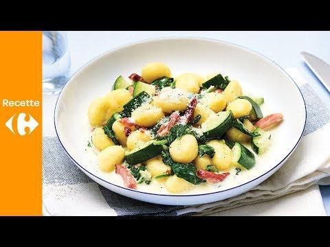 gnocchis-crémeux-aux-lardons,-épinards-et-courgettes