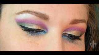 Pink Cut Crease with Green and Blue Accent Thumbnail
