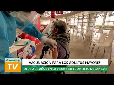Vacunación para los adultos mayores de 70 a 79 años en la Videna en el distrito de San Luis