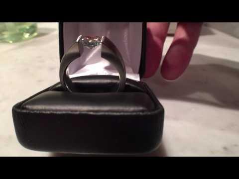Gray radiant moissanite tension ring in cobalt chrome