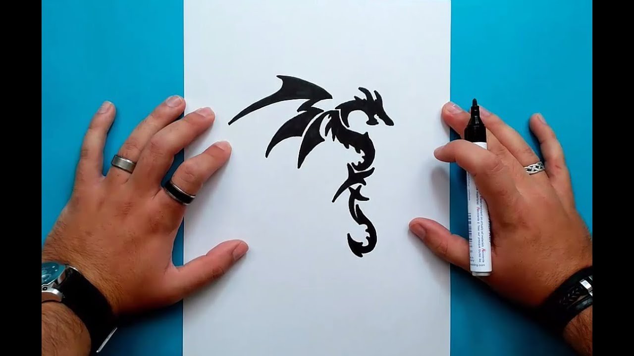 Como dibujar un dragon tribal paso a paso 2 How to draw