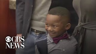 5-year-old boy brings kindergarten class to his adoption hearing