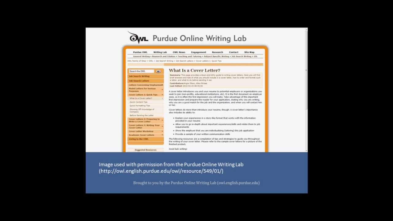 Preparing A Resume And Cover Letter Rutgers University Purdue Owl Cover Letters Youtube