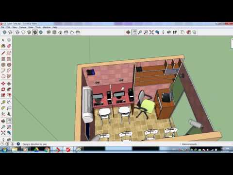 Start Small Cyber Cafe Design in Sketchup - YouTube