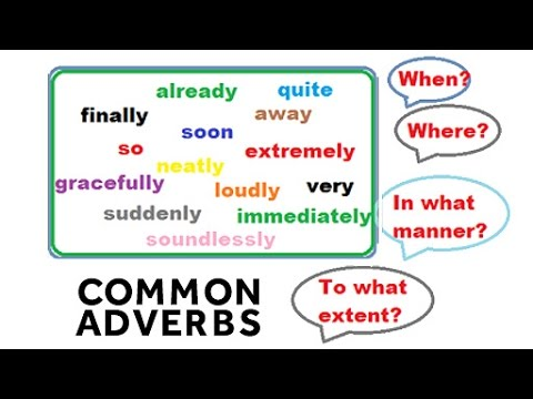 Common Adverbs For Kids | Basic English Grammar Lessons For Kids |  Educational Videos