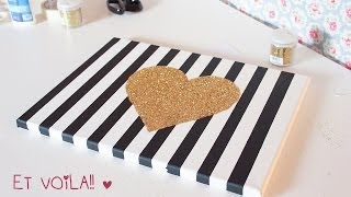 DIY wall art CANVAS with glitter and graphic prints ♡ ♡