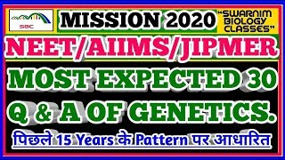 MOST EXPECTED 30 GENETICS-ZOOLOGY Q & A for NEET/AIIMS. Important Zoology-Genetics Questions.