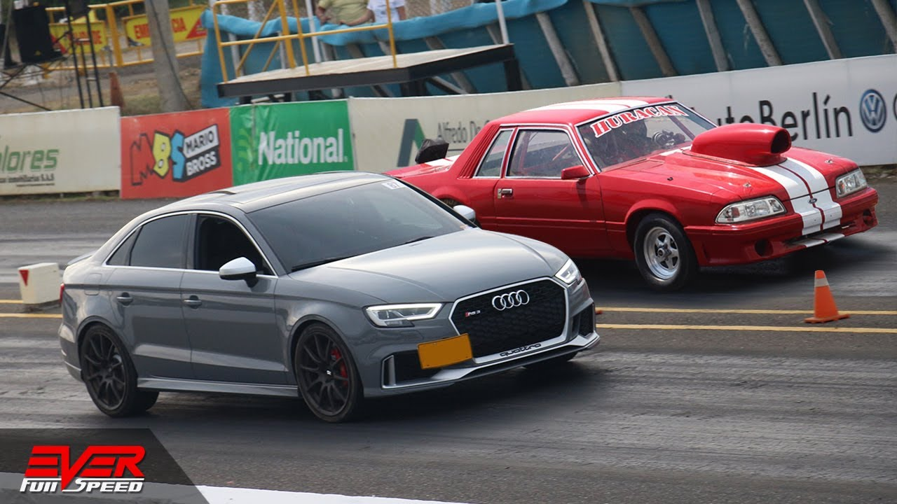 Audi RS3 𝙑𝙎 Ford Mustang Fox Body 🚦 New vs Old School 🚦 DRAG RACING 🏁  DUELO DE AUTOS