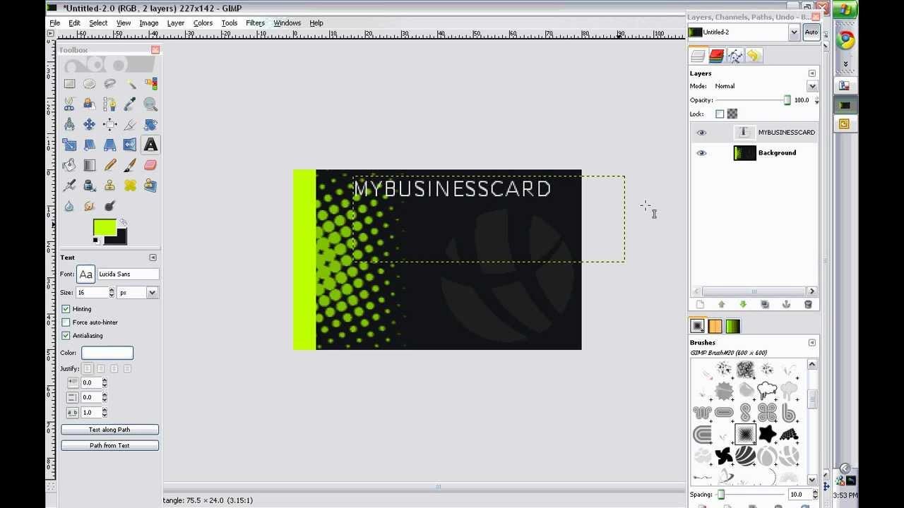 Business card design gimp 20 youtube business card design gimp 20 wajeb Images