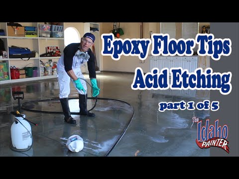Epoxy Floor Acid Etching.  Step 1 To Epoxy A Garage Floor.  Epoxy hacks & Epoxy instructions.