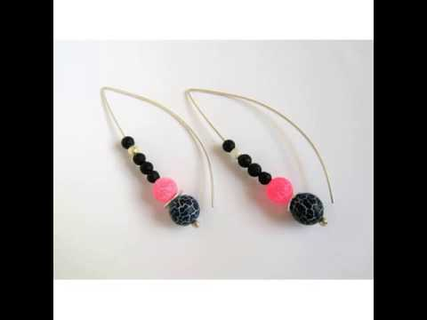 Silver earrings-Sterling silver-Agate and lava beads-Frosted