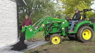 is-the-john-deere-2038r-too-big-removing-landscape-rock-adding-mulch