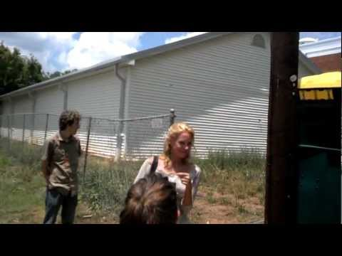 Laurie Holden on set of The Walking Dead
