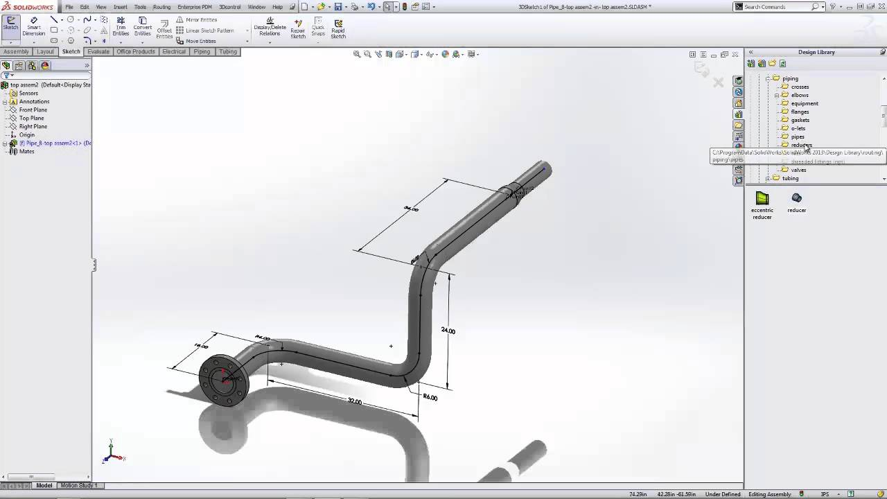 3d Library Wallpaper Solidworks Routing Creating Piping Spools Youtube