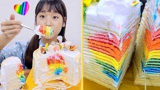 무지개 하트 크레이프 케이크 먹방! 만들기와 레시피 요리교실 🦄🌈 (ENG / JP SUB) Rainbow Heart Crepe Cake 虹ハートクレープケーキ [이루리]