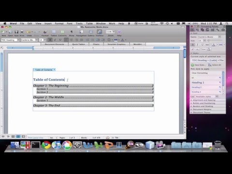 How to create a table of contents in microsoft word 2008 for mac