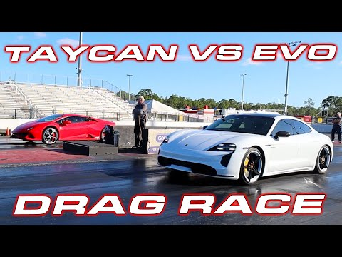 TAYCAN vs EVO * Taycan Turbo S vs Lamborghini Huracan EVO LP640 1/4 Mile Drag Race