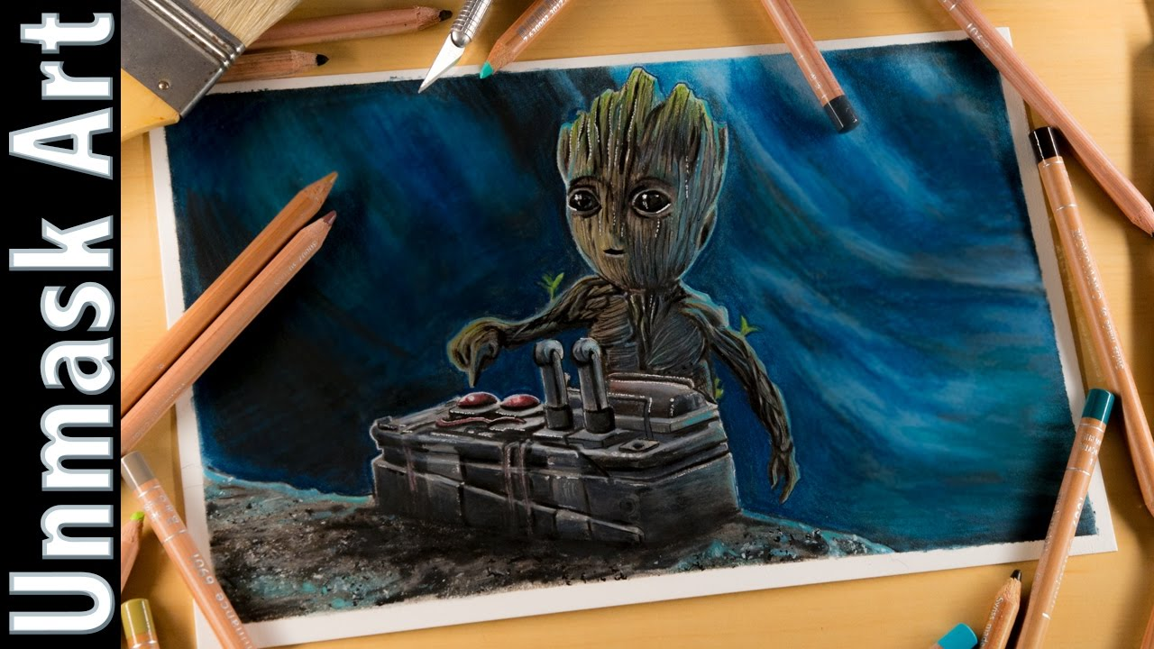 Drawing Baby Groot Colored Pencil Drawing Time Lapse Guardians Of
