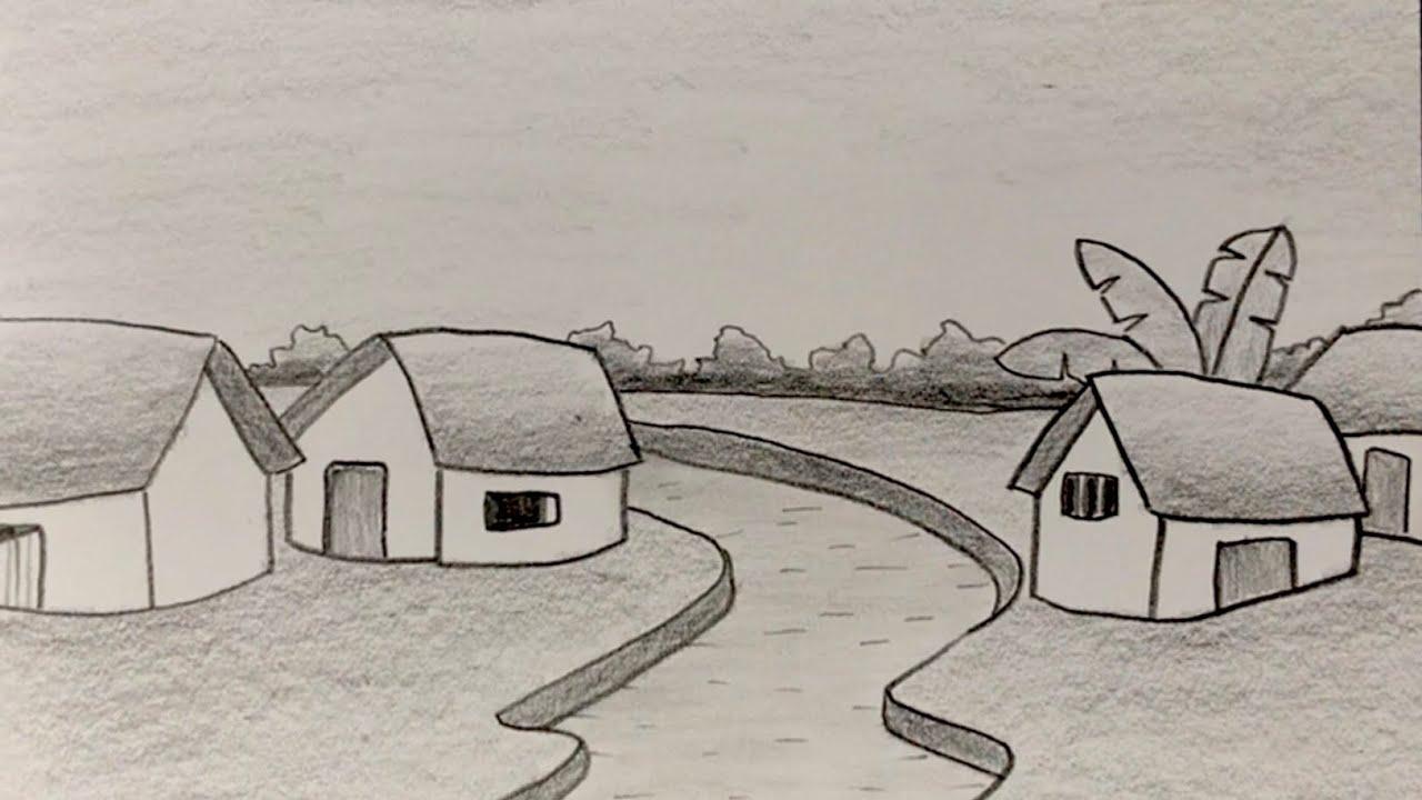 Vẽ tranh đề tài phong cảnh quê hương đẹp bằng bút chì   how to draw simple scenery with pencil