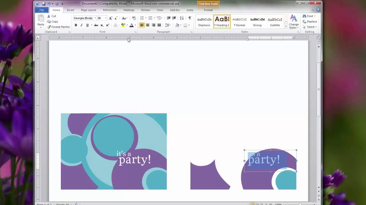 Creating Personal Invitations Using Microsoft Word 2010 Choosing A Card