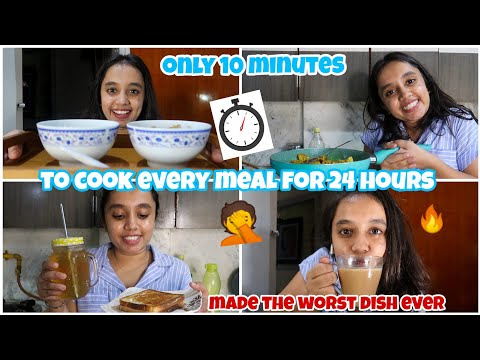 I only had 10 minutes to cook every meal for 24 HOURS 👩🍳|gopsvlog