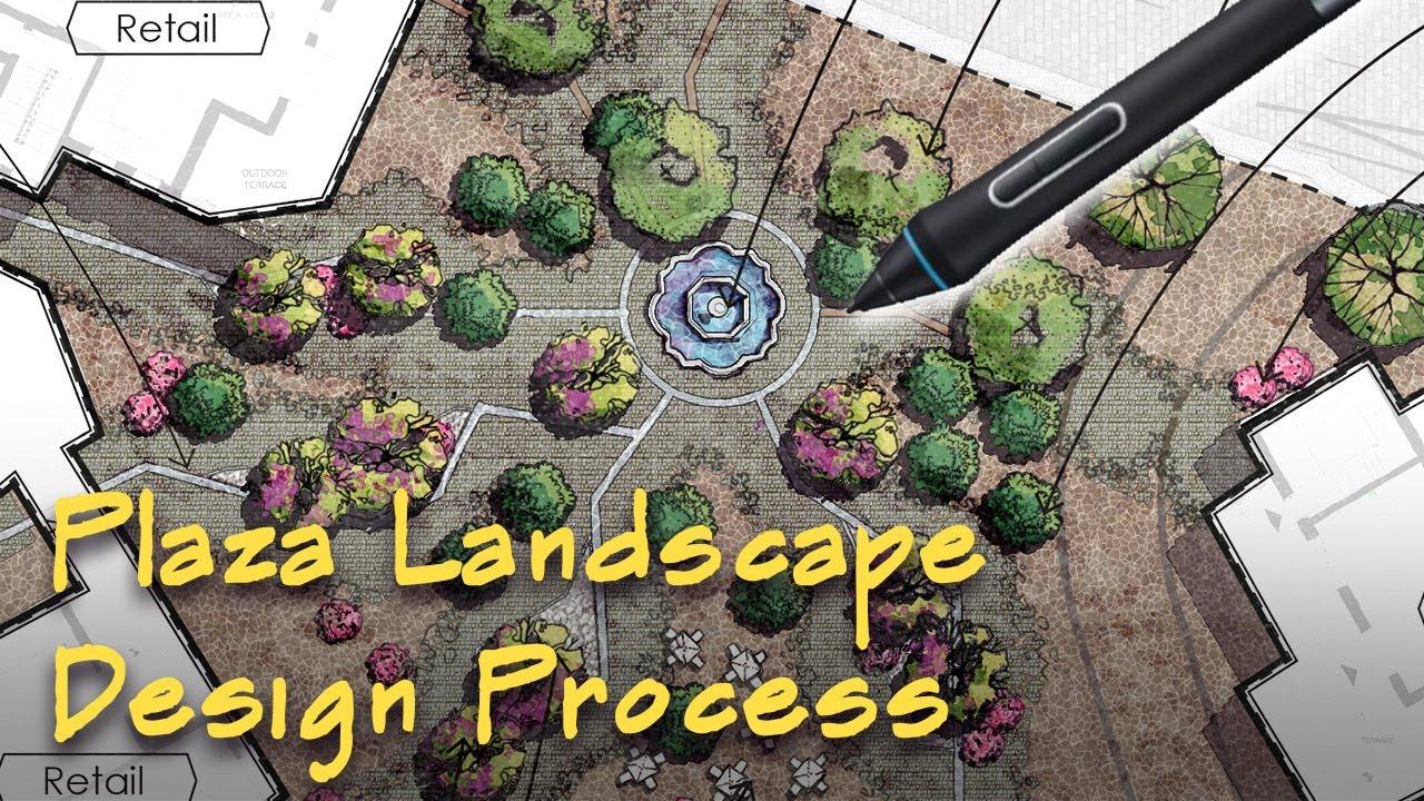 How to Design Landscape Plaza | Design Process Time Lapse